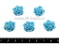 Кабошон акрил Роза плоская 18*7 мм, цвет голубой,  5 шт/упак 051633 - 99 бусин