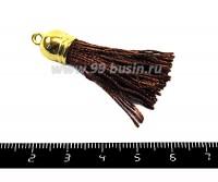 Кисточка из ниток, общая длина 4,5 см, цвет коричневый,  золотистый колпачок, 1 штука 051849 - 99 бусин