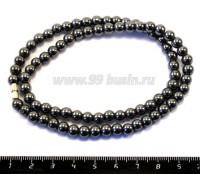 Натуральный камень ГЕМАТИТ бусины круглые 6 мм блестящие, цвет натуральный ок. 40 см/нить 052498 - 99 бусин