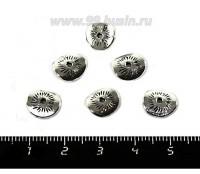 Шапочка для бусин Чипсы 9*8*1,5 мм, цвет старое серебро 10 штук/упаковка 052597 - 99 бусин