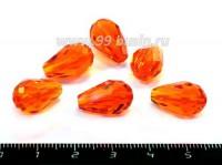 Бусина стеклянная капля мелкая грань 15*10 мм ярко-оранжевая 6 штук/упаковка 052631 - 99 бусин