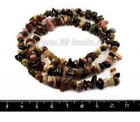Натуральный камень ТУРМАЛИН крошка 3*5-4*10 мм розовые, зеленые, бежевые, черные тона, 43 см/нить 052837 - 99 бусин