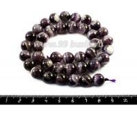 Натуральный камень АМЕТИСТ, бусина круглая 10,5 мм, сиренево-фиолетовые тона с белыми прожилками, 38 бусин/нить 052883 - 99 бусин