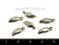 Подвеска Листочек 14*7 мм, цвет старое серебро 10 штук/упаковка 053069 - 99 бусин