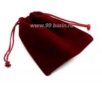 Мешочек подарочный Прямоугольный 12*10 см, цвет марсала велюр, 1  штука 053070 - 99 бусин