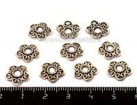 Шапочка для бусин Пятилистник с русскими узорами 12*2,5 мм, цвет старое серебро 10 штук/упаковка 053451 - 99 бусин