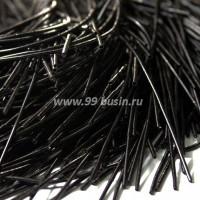 Канитель гладкая матовая 1 мм, цвет черный MK-16, пр-во Индия, упаковка 5 грамм (разные отрезки, общая длина около 3 метров) 053513 - 99 бусин