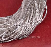 Трунцал (витая канитель) 1,8 мм, цвет светлое серебро MN-01, пр-во Индия, упаковка 5 грамм (разные отрезки, общая длина около 2,35 метров) 053522 - 99 бусин