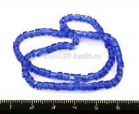 Бусина стеклянная на нити кубик 3 мм, цвет синий  30 см/нить 053641 - 99 бусин