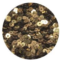 Мини пайетки плоские 4 мм Antique Gold Color Crystal finish № 389 Индия 5 грамм (около 1300 штук) 053706 - 99 бусин