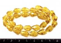 Бусина стеклянная мелкая грань капля 12*8 мм, светлый медовый , около 29 бусин/нить 053800 - 99 бусин