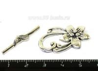 Тогл Серебряный цветок 30*20, 30*6 мм цвет старое серебро 1 штука 054021 - 99 бусин