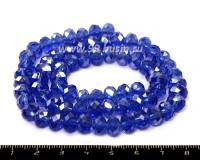 Бусина стеклянная на нитке мелкая грань 8*6 мм синий/перламутр около 40 см/нить 054077 - 99 бусин