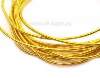 Канитель гладкая жесткая 1 мм, цвет ярко-желтый, пр-во Индия, упаковка 5 грамм (разные отрезки, общая длина около 1,4 метров) 054171 - 99 бусин