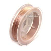 Нить для бисера Титан-100 цвет бледно-розовый 2637 катушка 100 метров, толщина 0,1 мм полиэстер 100% 054182 - 99 бусин