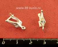 Швензы ювелирные Ромб с фианитами, посеребрение 12 микрон, 1 пара, производство Россия 054214 - 99 бусин