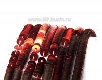 Пайетки плоские 5 мм Италия на нити Profondo rosso цвет алый металлик 1000 штук 054332 - 99 бусин