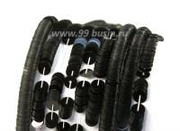 Пайетки плоские 5 мм Италия на нити Nero цвет чёрный глянец 1000 штук 054335 - 99 бусин