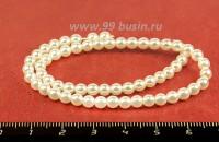 Бусина стеклянная жемчуг на нити 4 мм цвет белый Чехия 60 штук 054357 - 99 бусин