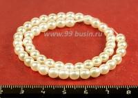 Бусина стеклянная жемчуг на нити 5 мм цвет белый Чехия 50 штук 054360 - 99 бусин