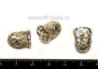 Колпачок Ажурный колокольчик 15*12 мм цвет никель, 9 мм внутренний диаметр 1 штука 054467 - 99 бусин