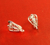 Швензы ювелирные Ажурное сердце 16*8 мм серебро 925 (sterling silver) светлое 1 пара 054510 - 99 бусин
