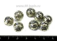 Бусина металлическая Ажурная 12 мм цвет никель 8 штук/упаковка 054632 - 99 бусин