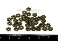 Разделитель Ромашка 6*1 мм цвет бронза 40 штук/упаковка 054637 - 99 бусин