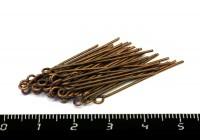 Пины с колечком 30*0,7 мм цвет старая медь 40 штук/упаковка 054690 - 99 бусин