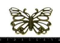Коннектор штампованный Большая Бабочка, 66*50 мм, цвет бронза, 1 шт/уп 054722 - 99 бусин