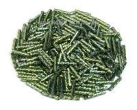 Стеклярус витой Matsuno 55R SP спираль 9 мм, цвет тёмно-зеленый радужный серебристое отверстие, Япония 10 граммов 054826 - 99 бусин