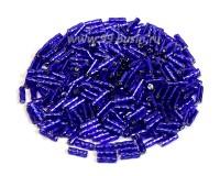 Стеклярус витой Matsuno 44 SP спираль 6 мм, цвет синий глянец, серебристое отверстие, Япония 10 граммов 054829 - 99 бусин