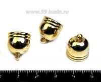 Колпачок с петелькой декор ободочки, 16*14 мм, внутренний диаметр 12,5 мм, цвет розоватое золото, 1 штука 054867 - 99 бусин