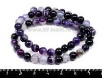Натуральный камень АГАТ колорированный, бусина круглая 6 мм, фиолетовые тона около 63 бусин/нить 055040 - 99 бусин
