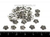 Шапочка для бусин Незабудка точечная 7*2 мм, цвет старое серебро 30 штук/упаковка 055062 - 99 бусин