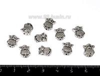 Бусина металлическая Совушка 10*8*3 мм, цвет старое серебро 10 штук/упаковка 055075 - 99 бусин
