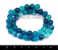 Натуральный камень АГАТ колорированный, бусина круглая 8 мм, синие тона около 37 см/нить 055091 - 99 бусин