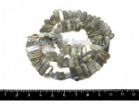 Натуральный камень ЛАБРАДОРИТ бусины - столбики, 15*4 - 15*7 мм, серебристо-серые тона, 39 см/нить 055117 - 99 бусин