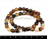 Натуральный камень АГАТ бусина круглая 8 мм, полосатые коричневые полупрозрачные около 49 бусин/нить 055146 - 99 бусин