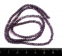 Бусины хрустальные на нити форма Рондель 3*2 мм цвет фиолетовый прозрачный 40 см нить /200 бусин 055150 - 99 бусин