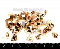 Концевики металлические нахлест с прижимной площадкой 9*4,5 мм розовое золото 40 штук/упаковка 055155 - 99 бусин