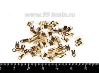 Концевики металлические нахлёст 6 мм розовое золото 50 штук/упаковка 055156 - 99 бусин