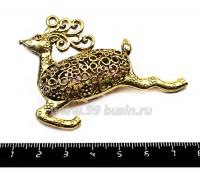 Подвеска Олень, полая 50*65 мм, цвет золото, 1 штука 055162 - 99 бусин