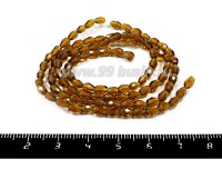 Бусины хрустальные на нити форма Капля 4,5*3 мм, цвет светло-коричневый, 100 бусин/нить 055188 - 99 бусин