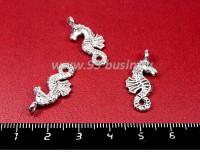 Подвеска Морской конек 23*10 мм, цвет серебро, 3 штуки/упаковка 055221 - 99 бусин