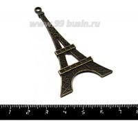 Подвеска Эйфелева башня большая плоская двухсторонняя 69*36 мм, цвет бронза, 1 штука 055222 - 99 бусин