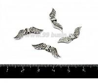 Бусина-разделитель металлическая Крылья ангела 24*7*3 мм, цвет старое серебро 4 штуки/упаковка 055228 - 99 бусин