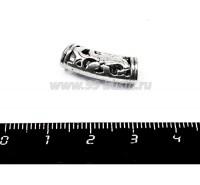 Бусина металлическая Трубочка Цветок, 20*8*6 мм, для шнура до 5 мм, цвет старое Серебро, 1 штука 055236 - 99 бусин