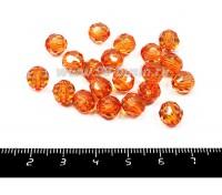 Бусина акриловая граненая 8 мм оранжевая прозрачная 30 штук/упаковка 055250 - 99 бусин