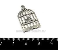 Подвеска Клетка с маленькой птичкой, 27*16 мм, цвет серебро, 1 штука 055273 - 99 бусин